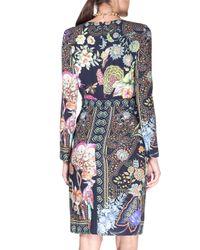 Etro - Black Fitted Split-neck Wrap-skirt Dress - Lyst