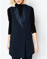 ASOS - Blue Longline Tuxedo Sleeveless Jacket - Navy - Lyst