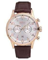 BOSS - Metallic Chronograph Leather Strap Watch for Men - Lyst