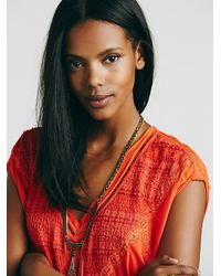 Free People - Orange Fp X Abigail Tee - Lyst