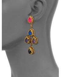 Erickson Beamon - Multicolor Velvet Underground Pear Crystal Chandelier Earrings - Lyst