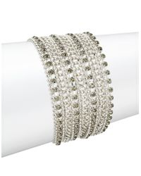 ABS By Allen Schwartz | Metallic Silvery Multi-row Bracelet | Lyst
