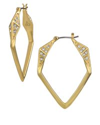 Sam Edelman - Metallic Crystallized Geometric Hoop Earrings - Lyst
