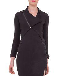 Akris - Black Asymmetric Wool-Crepe Jacket - Lyst
