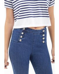 Forever 21 - Blue High-waisted Matelot Jeans You've Been Added To The Waitlist - Lyst