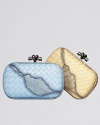 Bottega Veneta - Metallic Woven Knot Snake-Inset Clutch Bag - Lyst