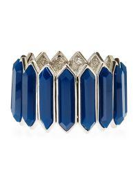 T Tahari - Silver-Tone & Blue Stretch Bracelet - Lyst