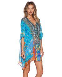 Camilla | Blue Short Lace Up Kaftan | Lyst