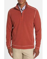 Tommy Bahama - Red Denim 'new Ben & Terry' Island Modern Fit Half Zip Pullover for Men - Lyst