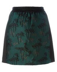 KENZO - Green 'bamboo Tiger' Mini Skirt - Lyst