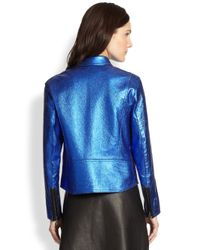 3.1 Phillip Lim Blue Leather Boxy Moto Jacket
