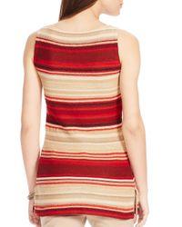 Ralph Lauren - Red Lauren Petites Archard Linen-cotton Striped Sweater - Lyst