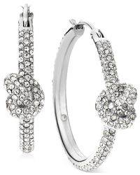 Michael Kors | Metallic Silver-Tone Pavé Knot Hoop Earrings | Lyst