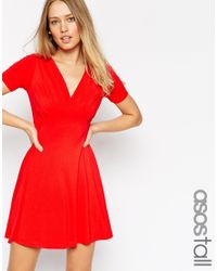 ASOS - Red Tall Skater Dress With Ruched Bust Detail - Lyst