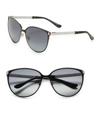 Jimmy Choo | Black Posie 60mm Round Sunglasses | Lyst