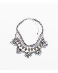 Zara | Metallic Turquoise Diamante Necklace | Lyst