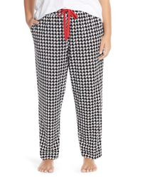 Cozy Zoe | Black Houndstooth Tapered Leg Lounge Pants | Lyst