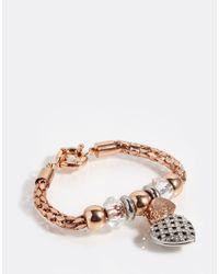 Lipsy - Brown Heart Charm Bracelet - Lyst