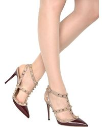 Valentino - Red 100mm Rock-stud Patent Leather Pumps - Lyst
