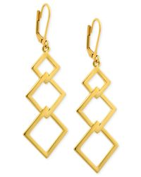 T Tahari | Metallic Triple Diamond-Shaped Euro Drop Earrings | Lyst