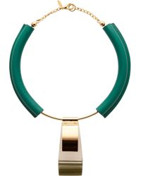 Marni - Green Emerald Leather and Gold Metal Necklace - Lyst