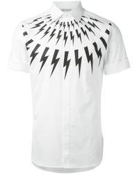 Neil Barrett | White Lightening Bolt Shirt for Men | Lyst
