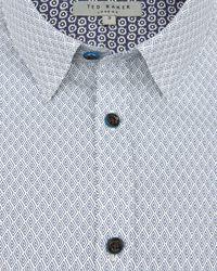 Ted Baker   Gray Pow Micro Swirl Print Shirt for Men   Lyst