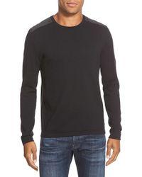 John Varvatos - Black Contrast Patch Crewneck Sweater for Men - Lyst