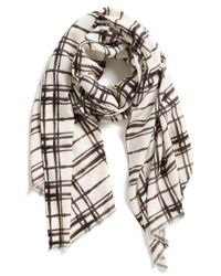 Halogen | Gray Blurred Plaid Wrap | Lyst