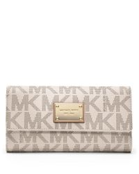 MICHAEL Michael Kors | White Jet Set Monogram Checkbook Wallet | Lyst