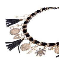 River Island - Black Woven Chain Charm Necklace - Lyst