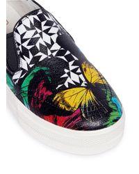 Ash | Black 'jam' Geometric Butterfly Print Leather Skate Slip-ons | Lyst