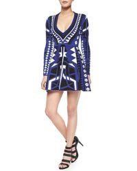 Parker - Blue Emperor V-Neck Fit-And-Flare Dress - Lyst