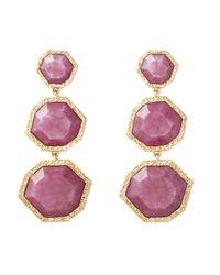 Isharya | Pink Orchid Goddess Three Stone Earrings | Lyst
