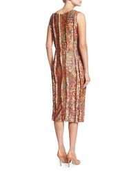 Nina Ricci - Brown Sleeveless Sequined Cocktail Sheath Dress - Lyst