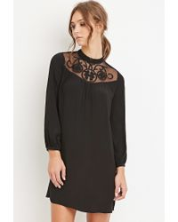 Forever 21 | Black Embroidered-mesh Shift Dress | Lyst