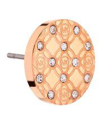 Michael Kors | Pink Heritage Monogram Crystal Set Earrings | Lyst
