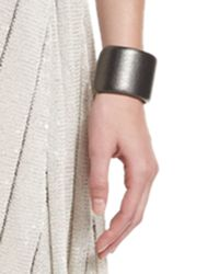 Brunello Cucinelli - Black Metallic Leather Cuff Bracelet - Lyst