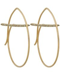 Hirotaka - Metallic Floating Diamond Bar Round Earring - Lyst