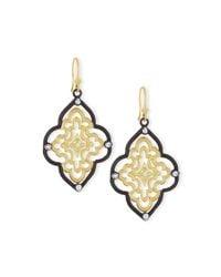 Armenta - Metallic Old World Scroll Earrings With Diamonds - Lyst