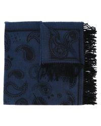 KENZO - Blue Paisley Symbols Knit Scarf - Lyst