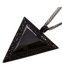 River Island - Black Chain Triangle Pendant Necklace - Lyst