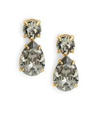 kate spade new york | Black Swarovski Crystal Teardrop Earrings | Lyst