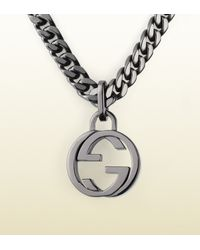 Gucci - Metallic Silver Necklace With Interlocking G Pendant - Lyst