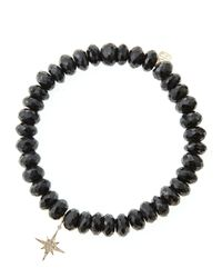 Sydney Evan - 8Mm Faceted Black Spinel Beaded Bracelet With Mini Yellow Gold Pave Diamond Disc Charm (Made To Order) - Lyst