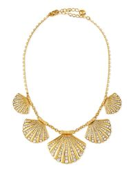 kate spade new york | Metallic Clam Crystal Collar Necklace | Lyst