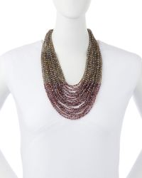 Nakamol | Purple Layered Bead Statement Necklace | Lyst