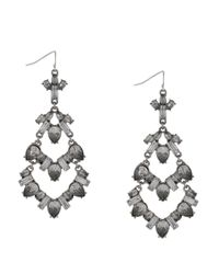 BCBGeneration - Metallic Rhodium-tone Stone Drama Chandelier Earrings - Lyst