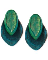 Robert Lee Morris | Green Layered Sculptural Patina Stud Earrings | Lyst