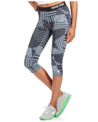 Nike | Black Pro Patchwork Printed Capri Leggings | Lyst